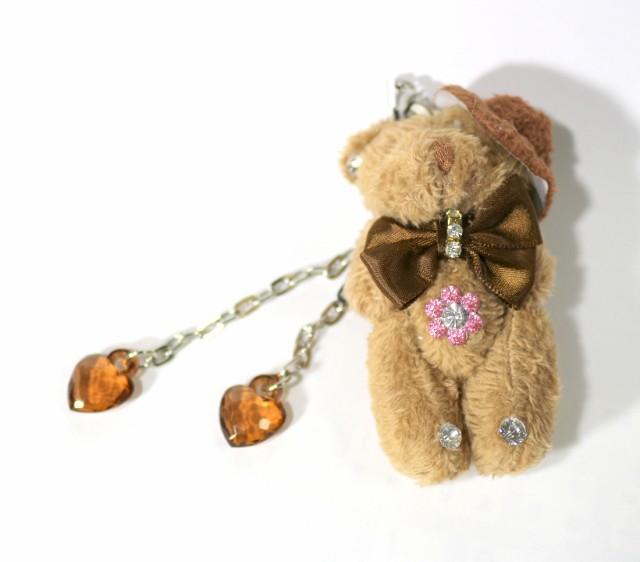 お洒落なクマさんのハートチャーム付きマスコット携帯スマホキーホルダーくまぬいぐるみ