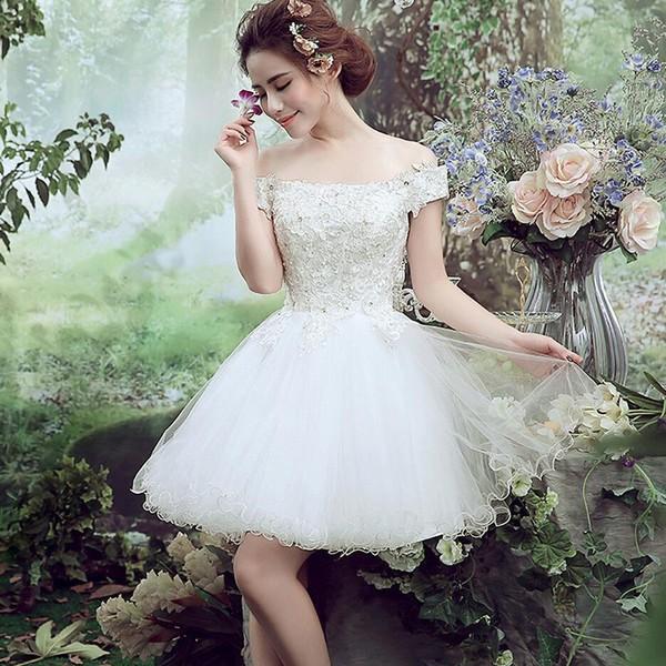 ミニドレス 白 安い ウエディングミニドレス 結婚式 発表会 披露宴 パーティドレス 二次会 ウェディングドレス 花嫁 ミニドレス  フレアの通販はWowma!
