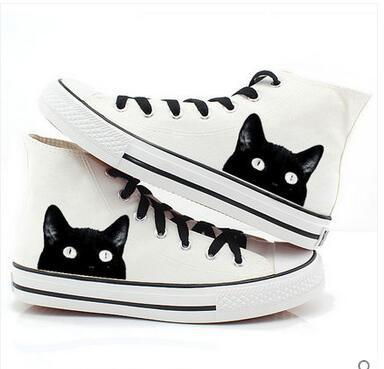 猫 スニーカー キャラクター メンズ シューズ 靴 イラスト 猫柄 黒猫 かわいい ハイカット|au Wowma!(ワウマ)
