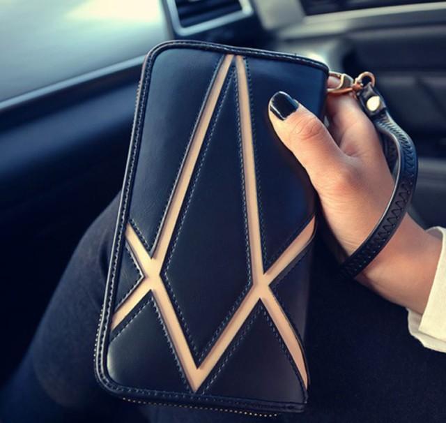 【新品ゆうメール送料無料】ファッションレザー財布ストライプ ジッパーロング財布レディース ブラック 1018