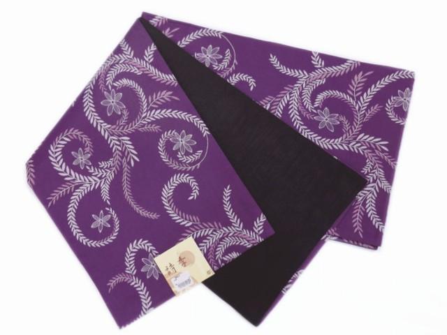 洗える全通柄京袋帯紫色地唐草小花 カジュアル着物きものに 日本製