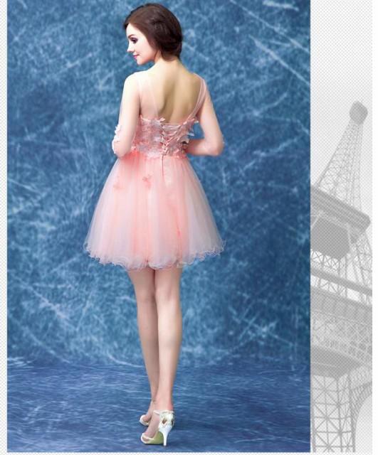 新作 高級感ショート丈エレガントパーティードレスウェディングドレスAラインイブニングミニドレス五分袖花飾り結婚式披露宴編み上げ
