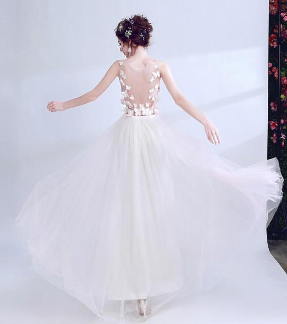 ウェディングドレス 新品 ★結婚式 パーティードレス 披露宴 花嫁 二次会 花嫁の介添 透かし彫り