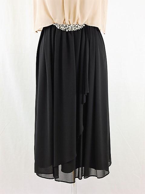 パーティードレス509 結婚式のミモレ丈のワンピース パーティーで着る着丈が長めのドレス 巻きスカート風 演奏会 即納 送料無料