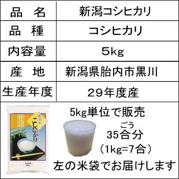 即納可 平成29年度産 新潟コシヒカリ5kg 2,850円 「黒川コシヒカリ」 お米/こしひかり/米/29