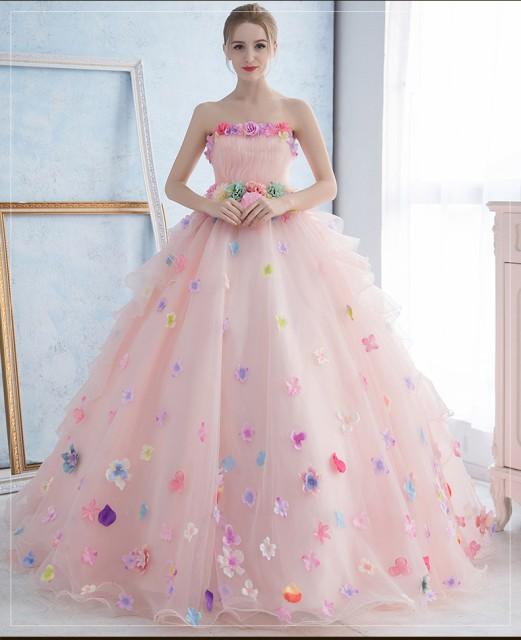 超可愛い☆カラードレス ウェディングドレス パーティドレス Aライン ビスチェ 結婚式 演奏会 舞台 写真 全2色 オーダーサイズ可  H059の通販はWowma!