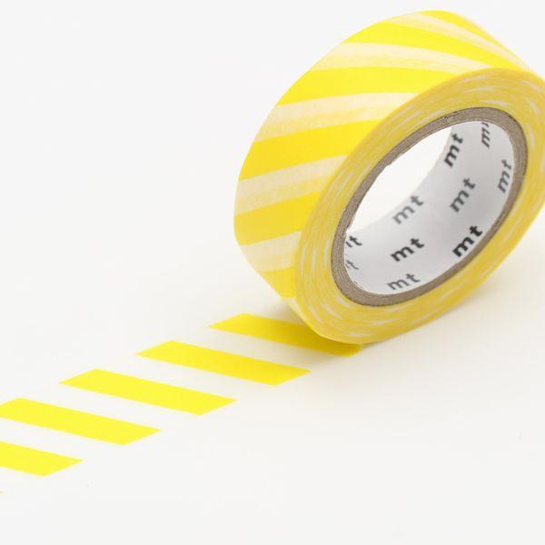 マスキングテープ ストライプ・レモン 15mm×10m/MT01D369【カモ井】マステ/mt/メール便OK