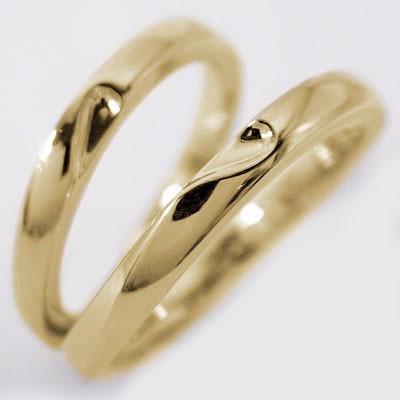 【在庫限り】 イエローゴールド ペアリング 結婚指輪 マリッジリング 2本セット K18 重ねるとハート, シントクチョウ 61e65f0f