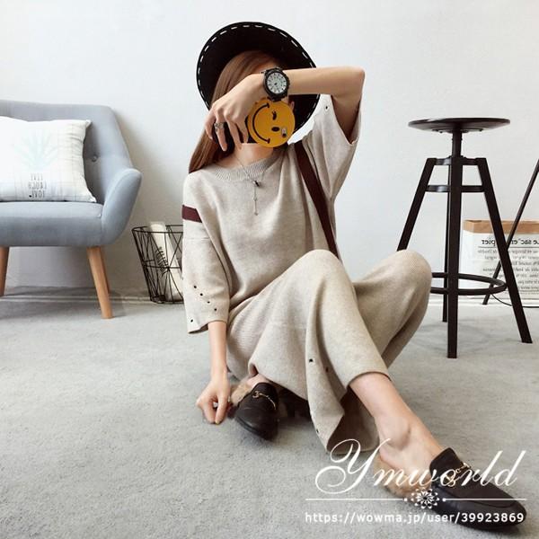 レディース 秋季新作 ニットセット ラウンド セットアップ ニットトップス+ パンツ 体型カバーになる 韓国ファッション 通勤用 ベージュ