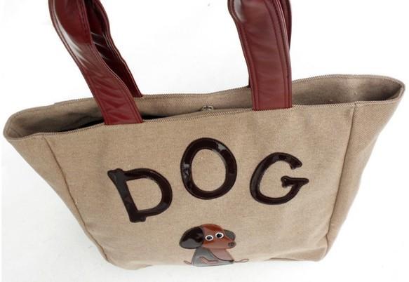 秋の新作【送料無料】犬柄 トートバッグ 大き目 麻 ダックスフント グッズ 雑貨 お座りワンコのシリーズ