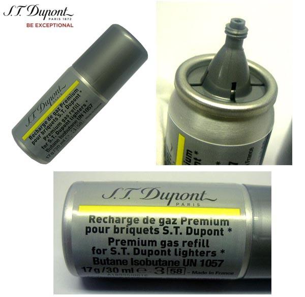 複数回注入型 新品正規品 デュポン(S.T.Dupont)ライター専用ガスボンベ(黄色 金色 ゴールド イエロー)1本☆おまけメンテブラシ付き!