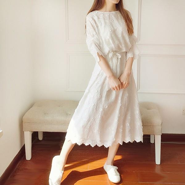 春と夏の演劇ファンセン ツーピース 刺繍 レースのドレス レトロ ホワイト