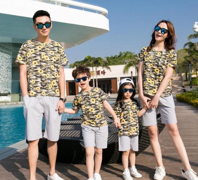 親子でお揃い/カップル上下セット Tシャツ パンツ 短袖 パパ/ママ/baby ペアルック 子供 韓国 子供服 おそろい 大きいサイズ