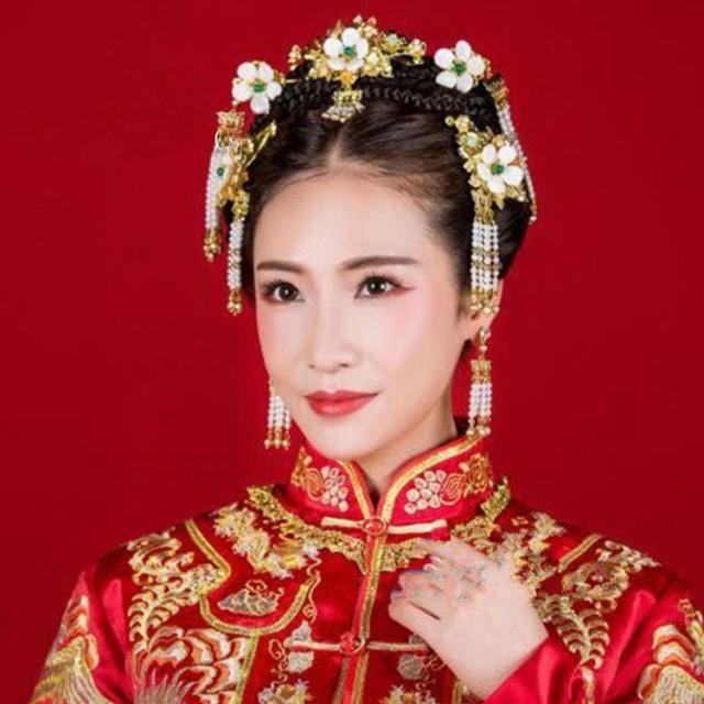 2点送料無料髪飾り物セット唐装漢服中国風ウェディング チャイナ古代宮廷コスプレ衣装撮影結婚式グッズ ヘアアクセサリーかんざし花嫁