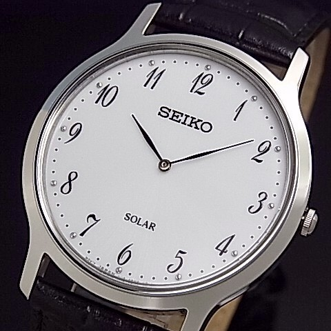数量は多 SEIKO/セイコー【ソーラー時計】メンズ腕時計 ブラックレザーベルト ホワイト文字盤 海外モデル SUP863P1, チガサキシ d971b2cc