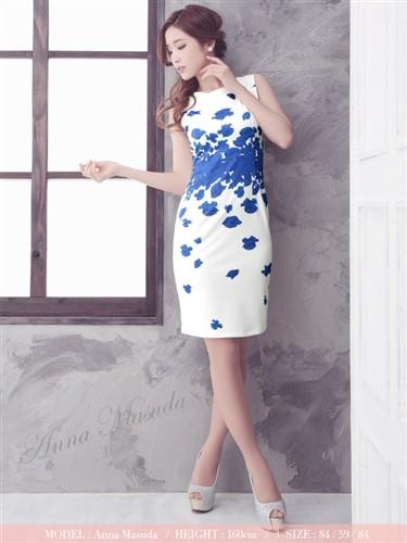 激安でもお上品な膝丈ドレス 【Tika ティカ】フラワープリントタイトミニドレスパーティードレスワンピース大きいサイズ有[S/M/L/2L]