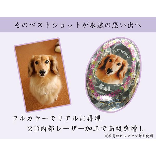 かわいいクリスタルペット位牌【ピュアラブ エッグ サイズC】【UV+2Dレーザー】犬の位牌 猫の位牌 ペット供養 送料無料