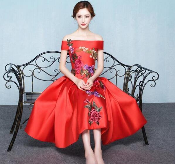 ロングドレス パーティードレス ウェディング オフショルダー 編み上げ 刺繍柄 ミモレ丈 結婚式 二次会 披露宴 おしゃれ 赤プリンセス