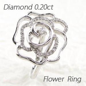 低価格で大人気の バラ 薔薇 ローズ フラワー ダイヤモンド リング ダイヤリング 指輪 プラチナ900 pt900 0.20ct, リトルプリンセス 6acc2ced
