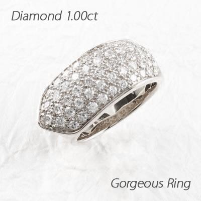 ファッションなデザイン パヴェ ゴージャスリング ダイヤモンド リング ダイヤリング ホワイトゴールド 1.00ct 指輪, 商芸文具 ad1e30b5