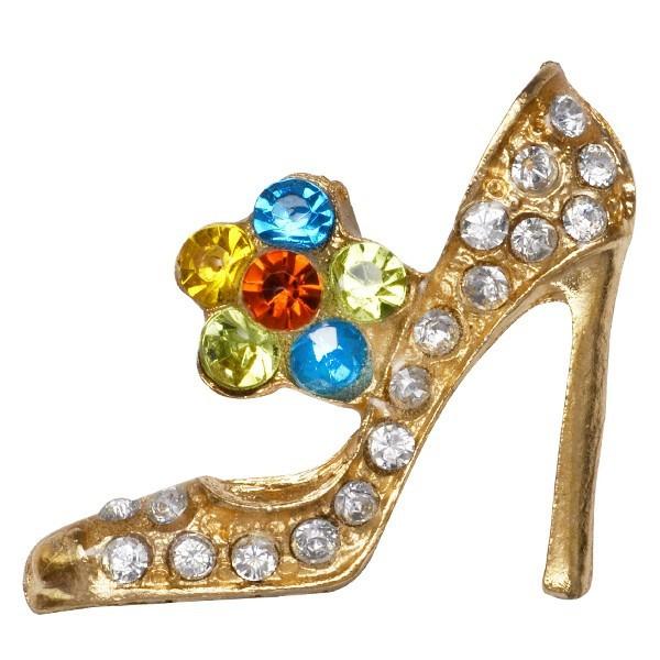 【メール便可】デコパーツ 金属パーツ メタルデコパーツ デコレーションパーツ 縦2.6cm×横3.1cm ハイヒール 靴 ゴールド ラインストーン