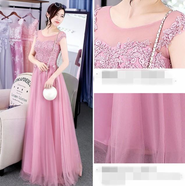 ピンクドレス ロングドレス 編み上げ ドレスパーティードレス ウェディングドレス 司会 年会 優雅 花嫁 挙式 発表会 ピアノ