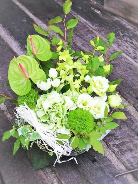 【ホワイト&グリーン系フラワーアレンジ50】清楚、純粋、平和、自然のカラー/誕生日/開店祝い/結婚式/記念日