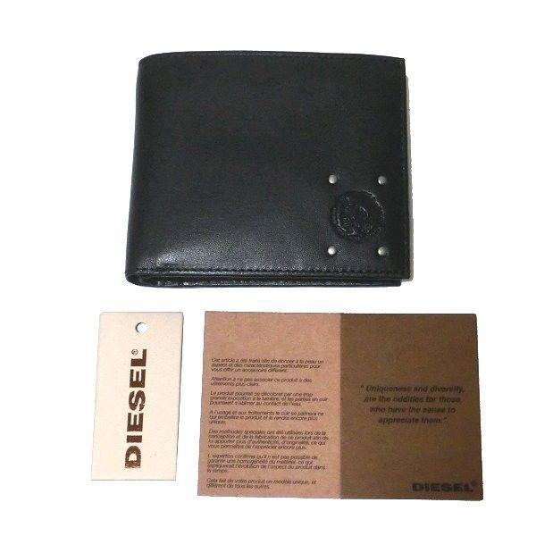 fe1b2cc46164 ディーゼル DIESEL 二つ折り 短財布 レザー CAMOU`N`DYED HIRESH S ブラック X03449