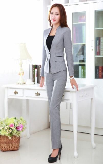 大きいサイズ パンツスーツ+長袖スーツ レディース 女性 セレモニー フォーマル OL通勤 オフィス カジュアル 2点セット 仕事用