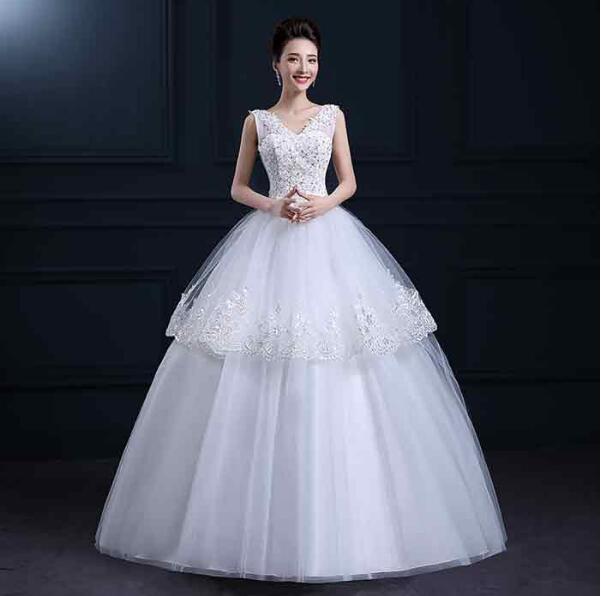 花嫁ブライド豪華な ウェディングドレス ロングドレス 結婚式 二次会 パーティー 披露宴 エンパイアドレス フリル ドレス 演奏会編み上げ