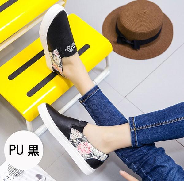 花柄レーススリッポン PU白/PU黒/布白/布黒 スニーカーsa26