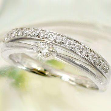 【セール】 指輪 ダイヤモンドリング ホワイトゴールドk18重ねづけ風 ダイヤリングK18wg指輪ダイヤ0.24ct, 異国精肉店ザアミーゴス 31678464