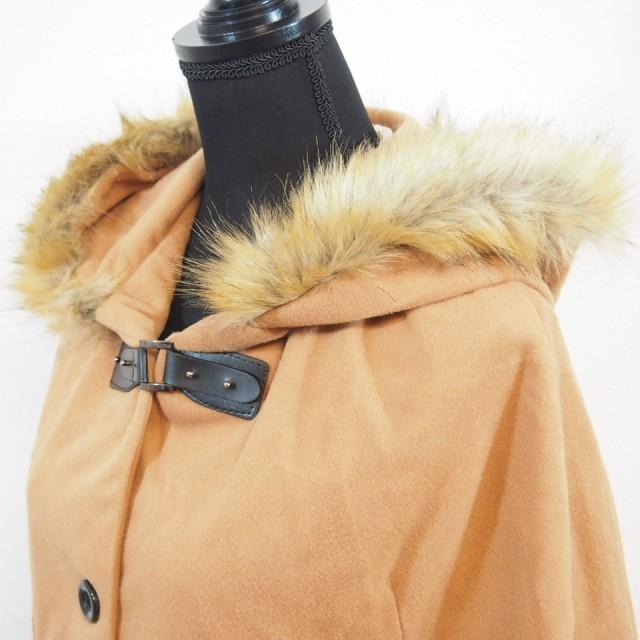 【即納商品】シルエットが可愛い!ポンチョ風コート ファー付フード ブラウンM GJMI430