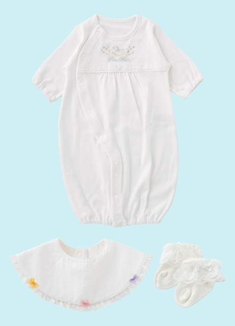 dd7f7a1b2301a ベビー服 赤ちゃん 服 ベビー ツーウェイオール 男の子 女の子 お宮参り  ピュアホワイト  新生児ウェア