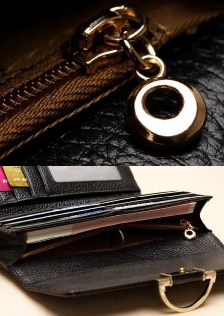クロコダイルデザイン 女性用クラッチバッグ風 長財布(19x9cm)カード10枚 カラー/ワインレッド CB-02WR