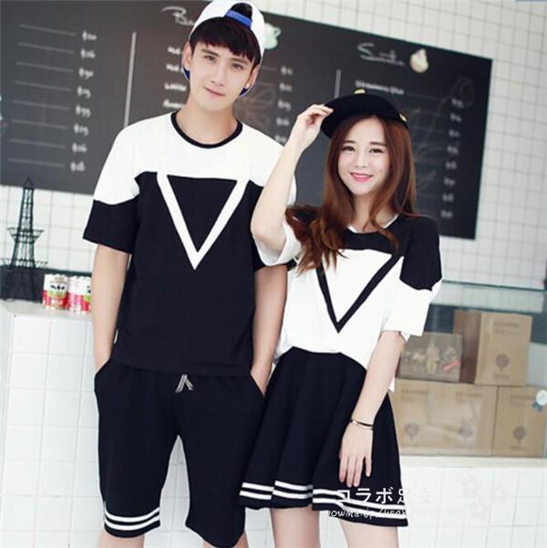 ペアルック 上下セット メンズ レデイース セットアップ カップルセット 半袖Tシャツ スカート トライアングル 韓国ファッションの通販はWowma!