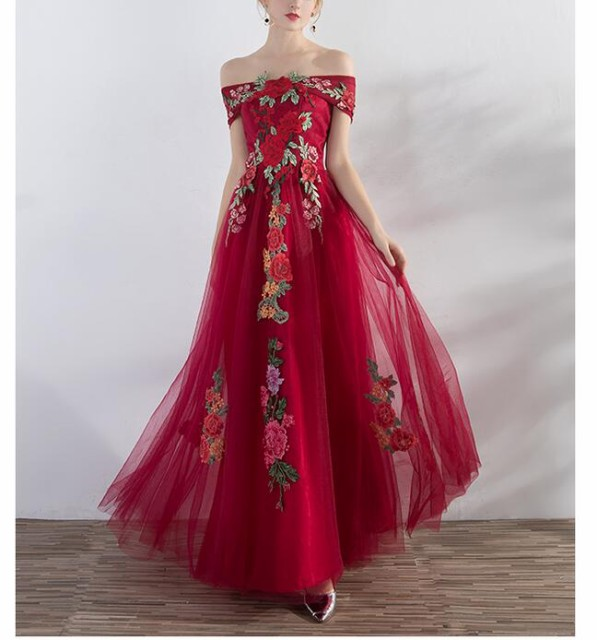 0524fff97ed78 赤刺繍二次会ドレス 花嫁 パーティドレス オフショルダー Aライン 二次会 ドレス ミディアム 成人式