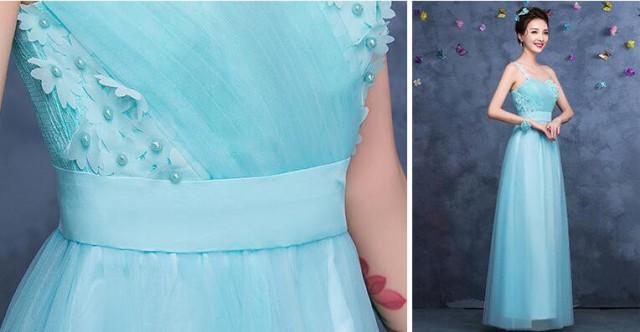 新品★ブライズメイドドレス パーティー 結婚式 二次会 花嫁 Aライン ロング丈 成人式 卒業式 ウェディング カラードレス着痩せ