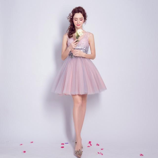 パーティードレス ピカピカ 二次会 結婚式 披露宴 司会者 花嫁 写真撮影 演奏会 舞台衣装  ピンク ミニドレス