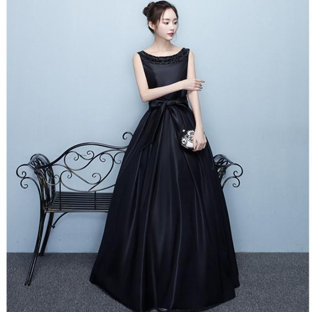 演奏会 発表会 黒 大きいサイズ ドレス パーティードレス 結婚式 ドレス ウェディングドレス ロングドレスクラシック お呼ばれ ピアノ の通販はWowma!