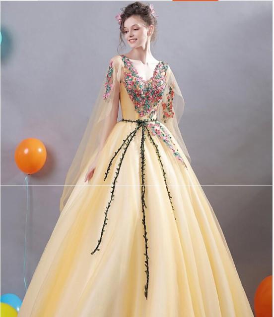 ロングドレス フェミニン パーティードレス エレガント チュールスカート ウエディングドレス 演奏会 ピアノ 花嫁 披露宴 編み上げ