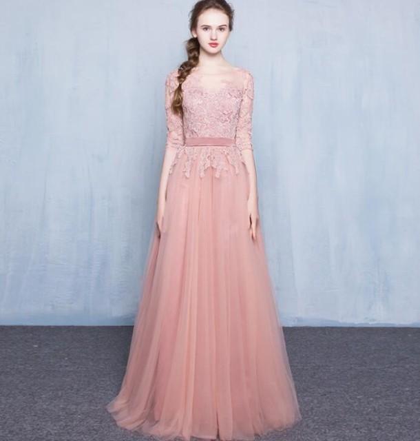 パーティードレス 結婚式 ウエディングドレス ロング キャバ嬢 大きいサイズ ピンク お呼ばれドレス ファスナー20代30代40代の通販はWowma!