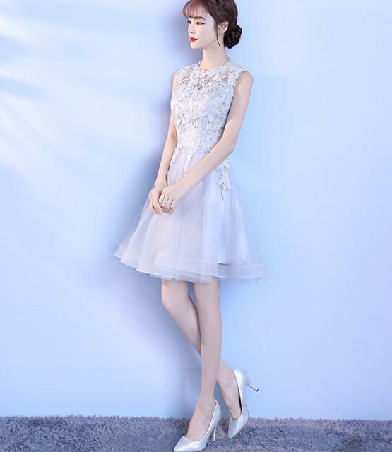 ミニ丈ワンピ パーティー Aライン フォーマル ブライズメイドドレス/結婚式二次会卒業式 花嫁の介添え着痩せ30代20代 学生 袖なし