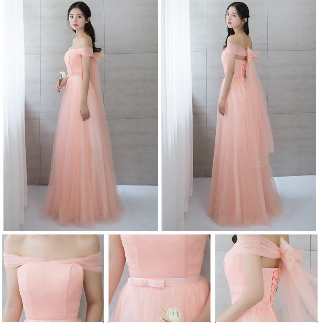 パーティードレス ロングドレス ウェディングドレス フェミニン 発表会 ピアノ 宴会 年会 優雅 編み上げ 6柄 ピンク