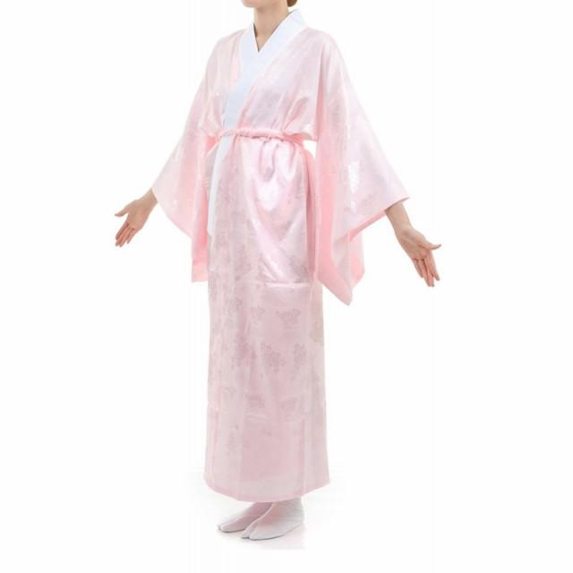 長襦袢 ピンク 白 衿芯2本 M L サイズ