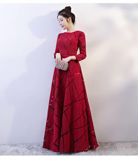 17b1cc7d3240a エレガント ワイン赤 ロングドレス長袖 結婚式 二次会ドレス パーティードレス 花嫁 披露宴 イブニングドレス