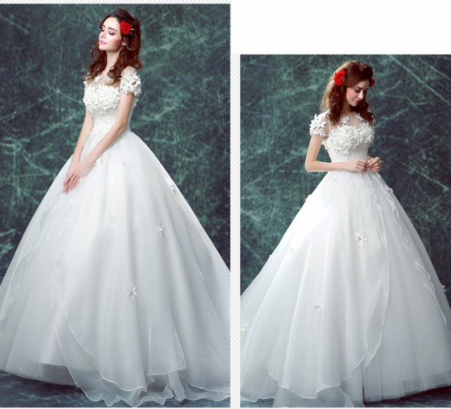 1535e389eb4fd プリンセスライン花嫁ウエディングドレス 白 ホワイト 結婚式ドレス パーティドレス Aライン 演奏会