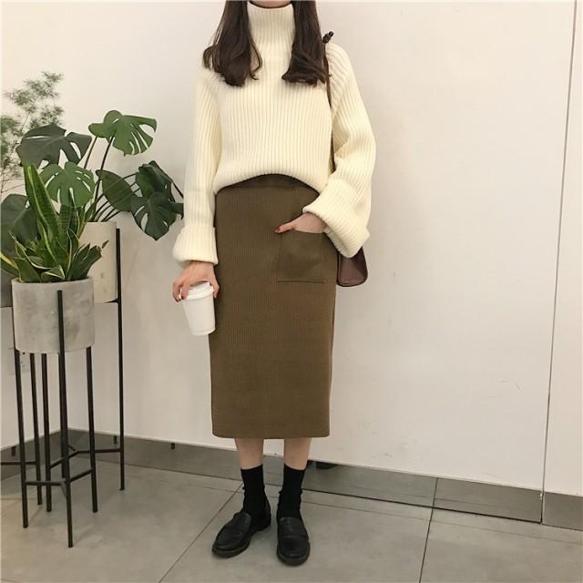 デザインポケット付き☆リブニットタイトスカート