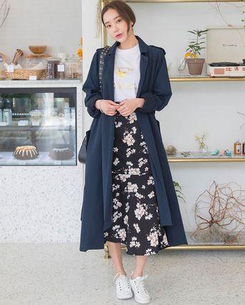 韓国ファッション ノーボタン アシンメトリー ロング トレンチコート 2color