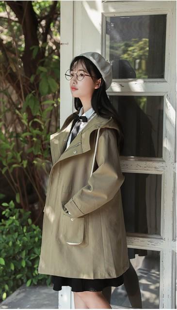 フード付きコート☆トレンチコート レディース ミドル丈 人気 定番